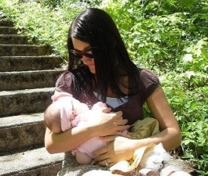 Breastfeeding in Public with Skinies Open Cup Nursing Cami
