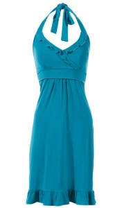 D4004 Flirty Halter Dress in Teal