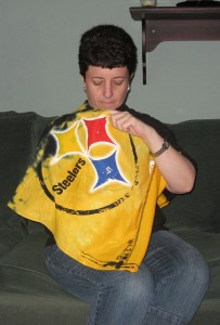 SteelersPonchoSitting