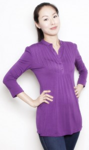 Pleated Bib Tunic in Plum, Conservative Look