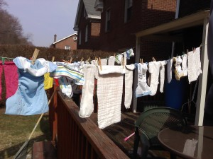 Cloth diapers on the clothesline