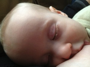 sleeping nursing baby