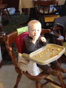 baby eats food