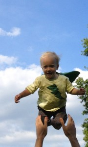 Felix loves wearing superhero capes and flying in the yard. I'm learning this home alone with him!