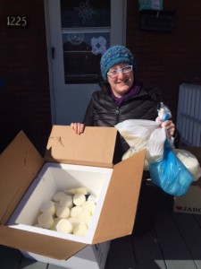 me with many bags of donor milk