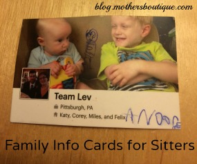 family info cards for babysitters